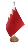 Bahrain Desk / Table Flag with wooden stand and base